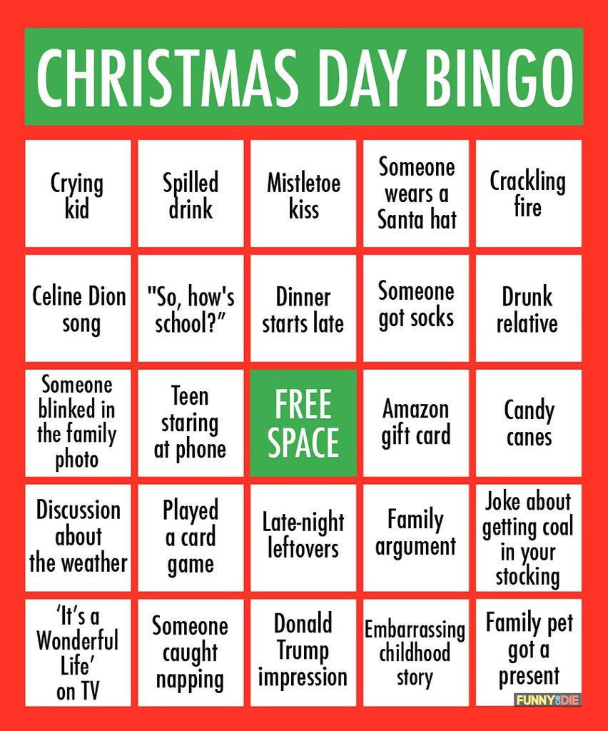Christmas rush gunny bingo sheet
