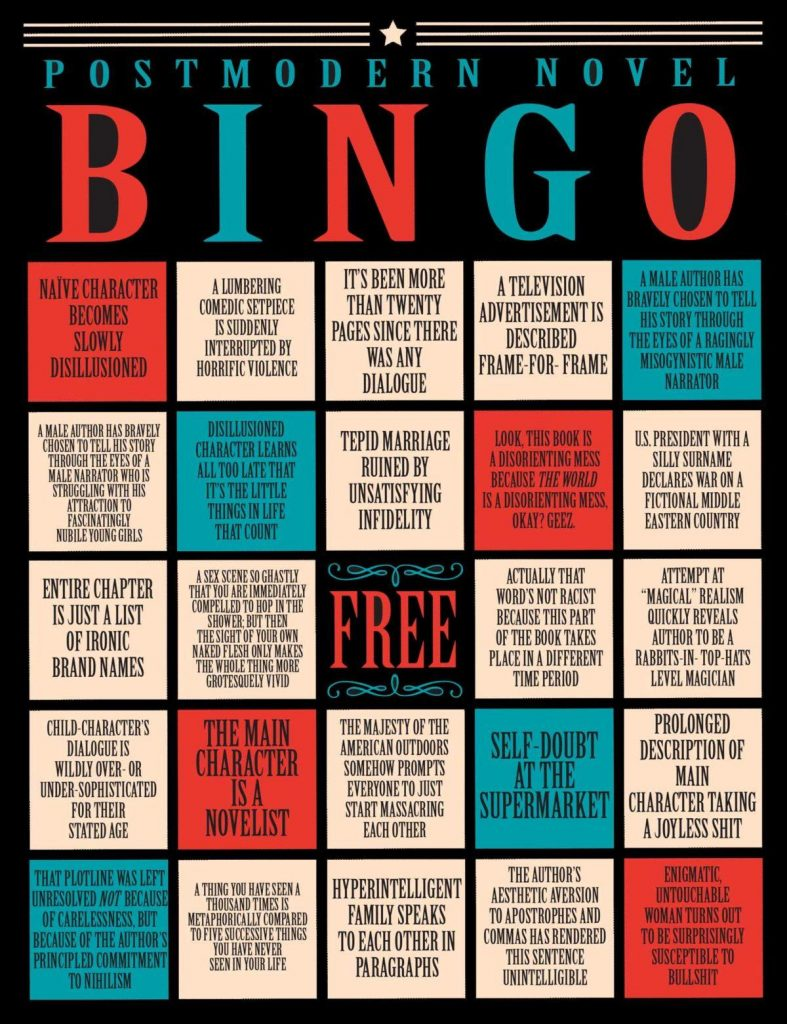 Funny Bingo Sheet about postmodern literature