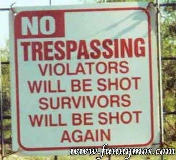 No tresspassing funny image