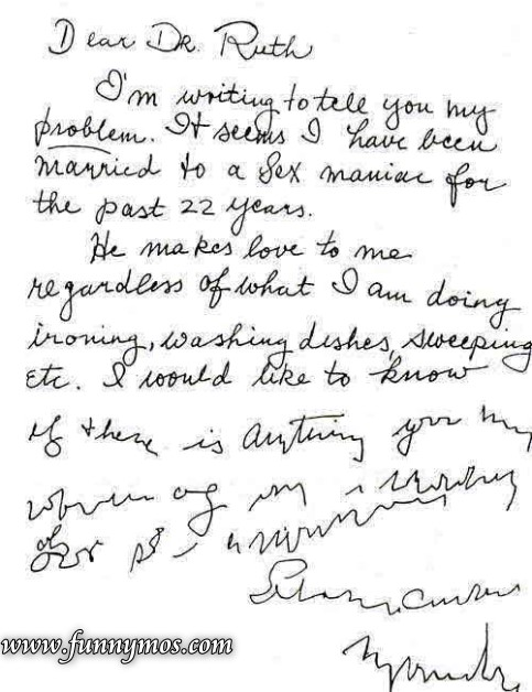 funny letter to dr ruth