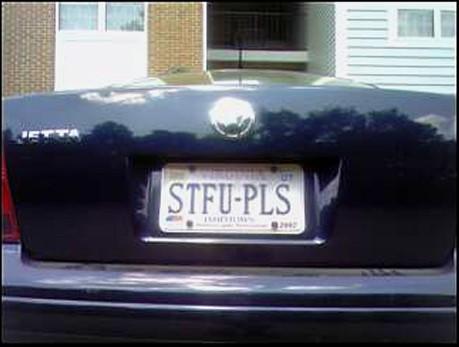 STFU PLS license plate