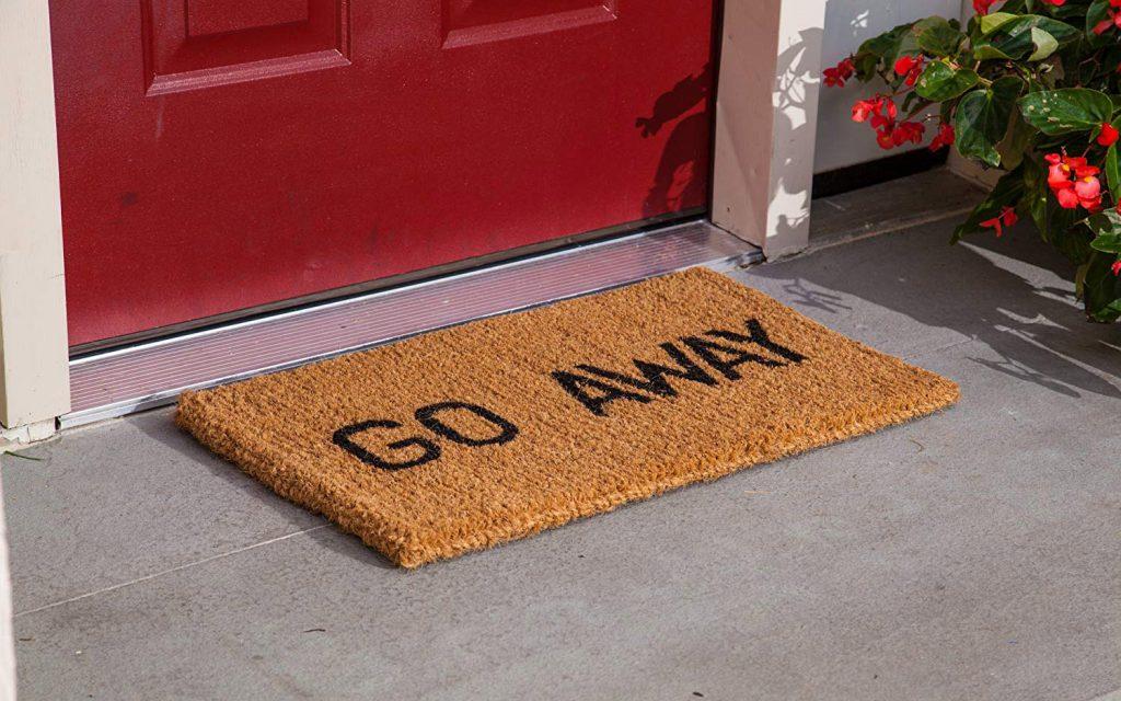 Go Away Scrooge evil gift door carpet