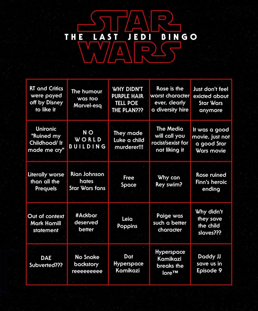 Star Wars fun Bingo Sheet